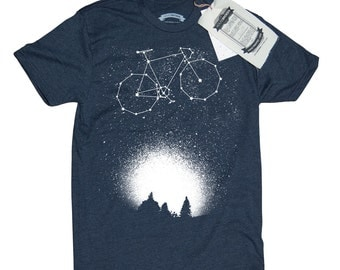 Bicycle T-Shirt. Bike Shirt. Bike in the Night Sky Men's T-Shirt- Fixie Bike Shirt in Sizes Small to XXXL