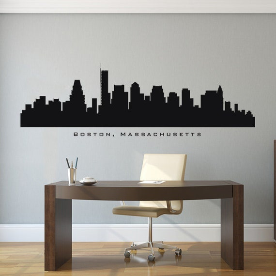 Boston massachusetts skyline wall decal art by americandecals for Good look chicago skyline wall decal