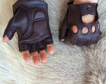Men's fingerless leather gloves - Driving Gloves - Fitness Gloves