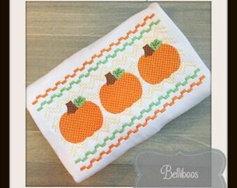 Pumpkin Embroidery Design - Pumpkin Faux Smocking - Halloween Embroidery Design - Fall Embroidery Design - Halloween Faux Smocking