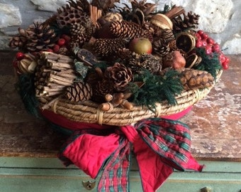 Large Christmas Basket filled with the magic of the woods