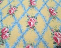 Fabric Country French Provence Floral Blue/ Yellow 2 Yds. French Provencial Pierre Deux Style Flowered  Pillows Upholstery Totes Home Decor