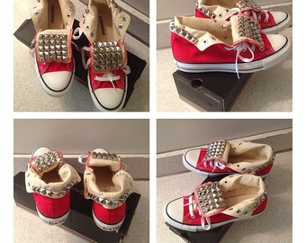 High top converse with studded tongue