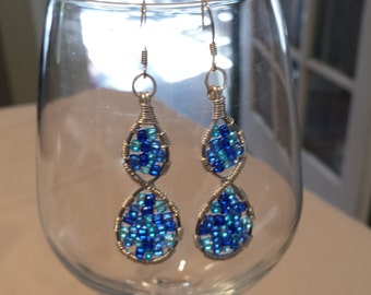 Blue Glass & Silver Wire Wrapped Earrings