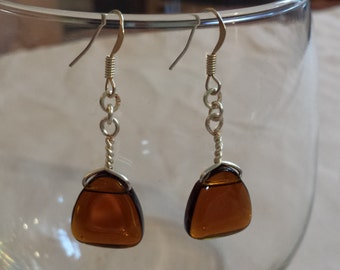 Amber & Silver Wire Wrapped - Dangle Earrings