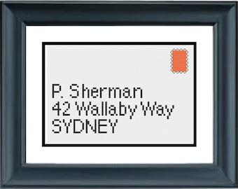 Send to P Sherman - Finding Nemo - Disney Pixar - PDF Cross-Stitch Pattern
