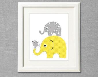 Grey and yellow elephant wall art, nursery Art Print - 8x10 - Children wall art, Baby Room Decor, bird, neutral gender- UNFRAMED