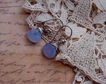 Faceted Chalcedony gemstone earrings
