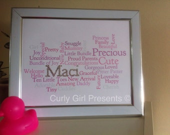 New baby Word Cloud Gift Christening Present Baptism Congratulations on the birth Naming Ceremony Gift Fluffy