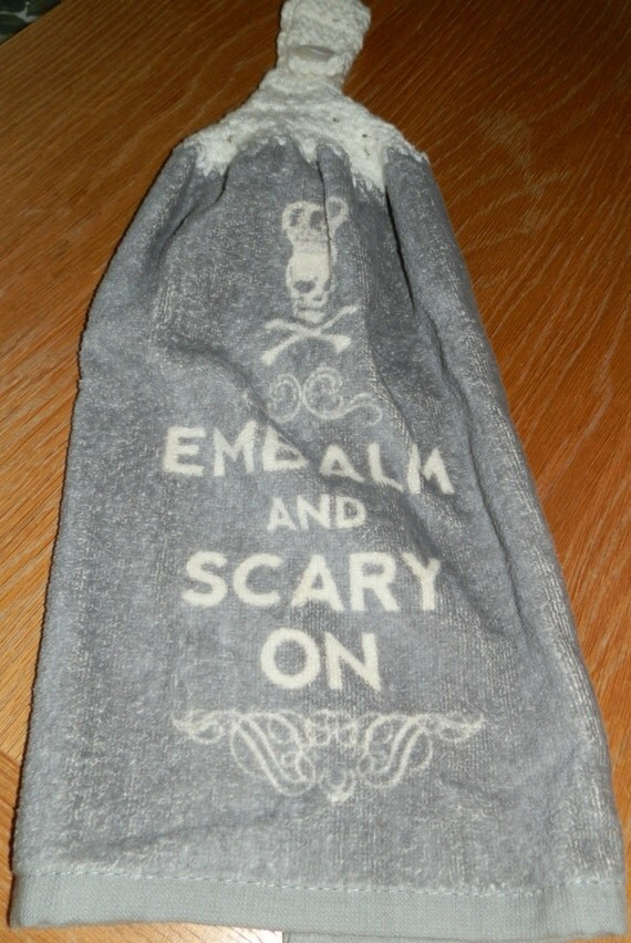 Crochet Patterns Kitchen Hand Towels : Crochet Kitchen Hand Towel-Gray Skull Halloween by lbarriltoo