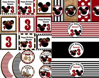 Mickey Mouse Pirate Party,   Mickey Pirate birthday, Mickey Mouse party Pirate Party printable Mickey mouse birthday digital