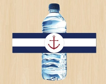 DIY Printable Blue and White Nautical Baby Shower Water Bottle Labels