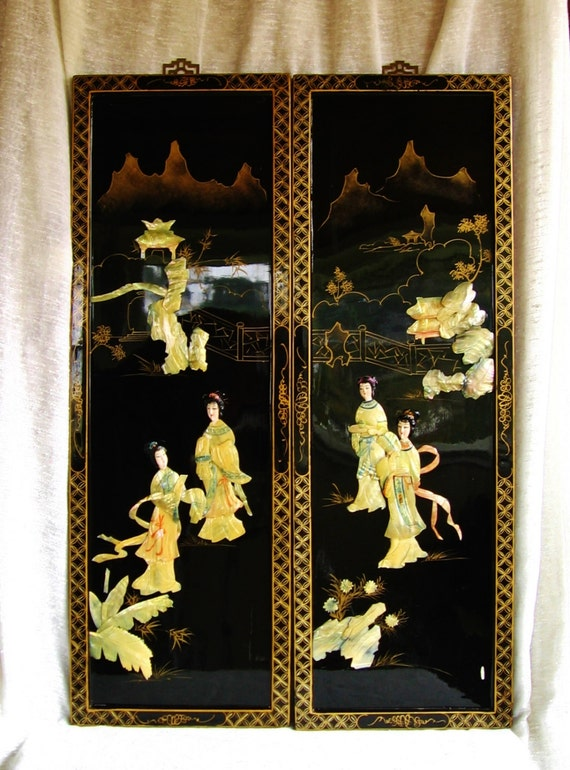 mid century pair carved mother of pearl wall panels by. Black Bedroom Furniture Sets. Home Design Ideas