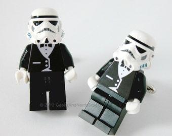 LEGO Star Wars Stormtrooper with Black Tuxedo Figure Cufflinks - Mens Cufflinks - Groomsmen Cuff Links - Best Man Gift - Star Wars Wedding