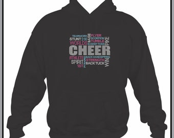Cheer Hoodie/ Cheer Sweatshirt/ Cheer Clothing/ Cheer Gift/ Cheer/ Rhinestone Terms Of A Cheerleader Cheerleading Cheer Hoodie Sweatshirt