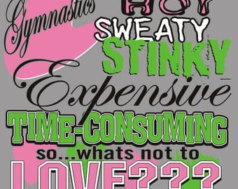 Hot Sweaty Stinky Expensive Time What's Not To Love Gymnastics T-Shirt Sports