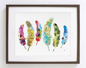 Colorful Feathers Watercolor Painting - 8x10 Archival Print - 6 Feathers Painting - Wall Decor Art Home Decor Housewares - Nature, Whimsical