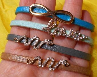 Leather Magnetic Wrap Bracelet/Cuff with Slide CZ Slide Charm