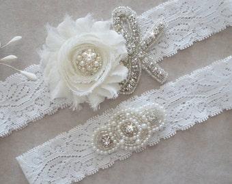 ANAYA Style -Wedding Garter Set, Stretch Lace Garter, Off White Lace, Flower Garter Set