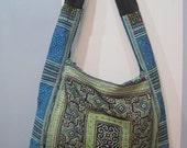 Blue/Green Vietnam Hmong Embroidered Messenger Bag