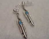 Feather Post Tibetan Silver Earrings - Native American Jewelry - Back to School Accessory, Stocking Stuffer, Babysitter Gift