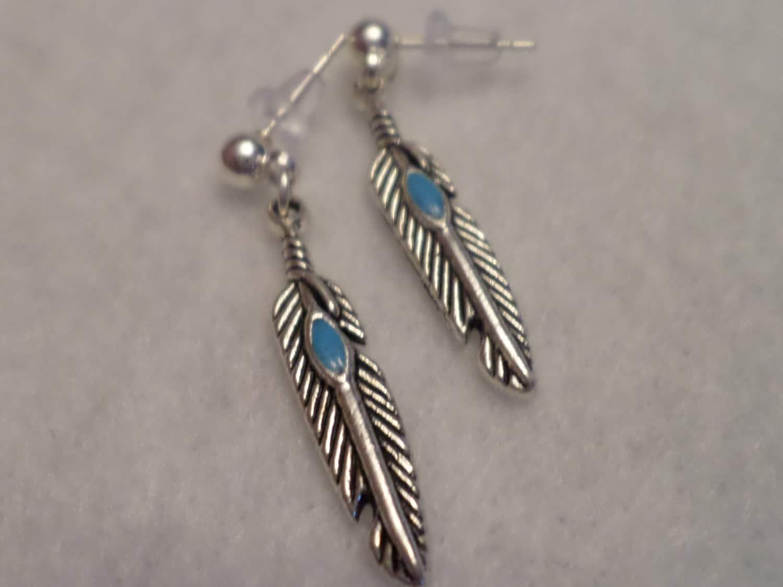 Feather post tibetan silver earrings native american jewelry for Native american feather jewelry