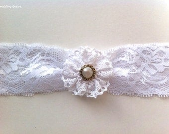 Inspired by Vintage | WHITE Bridal Garter Collection | Beautiful Stretch Lace | Flower Garter