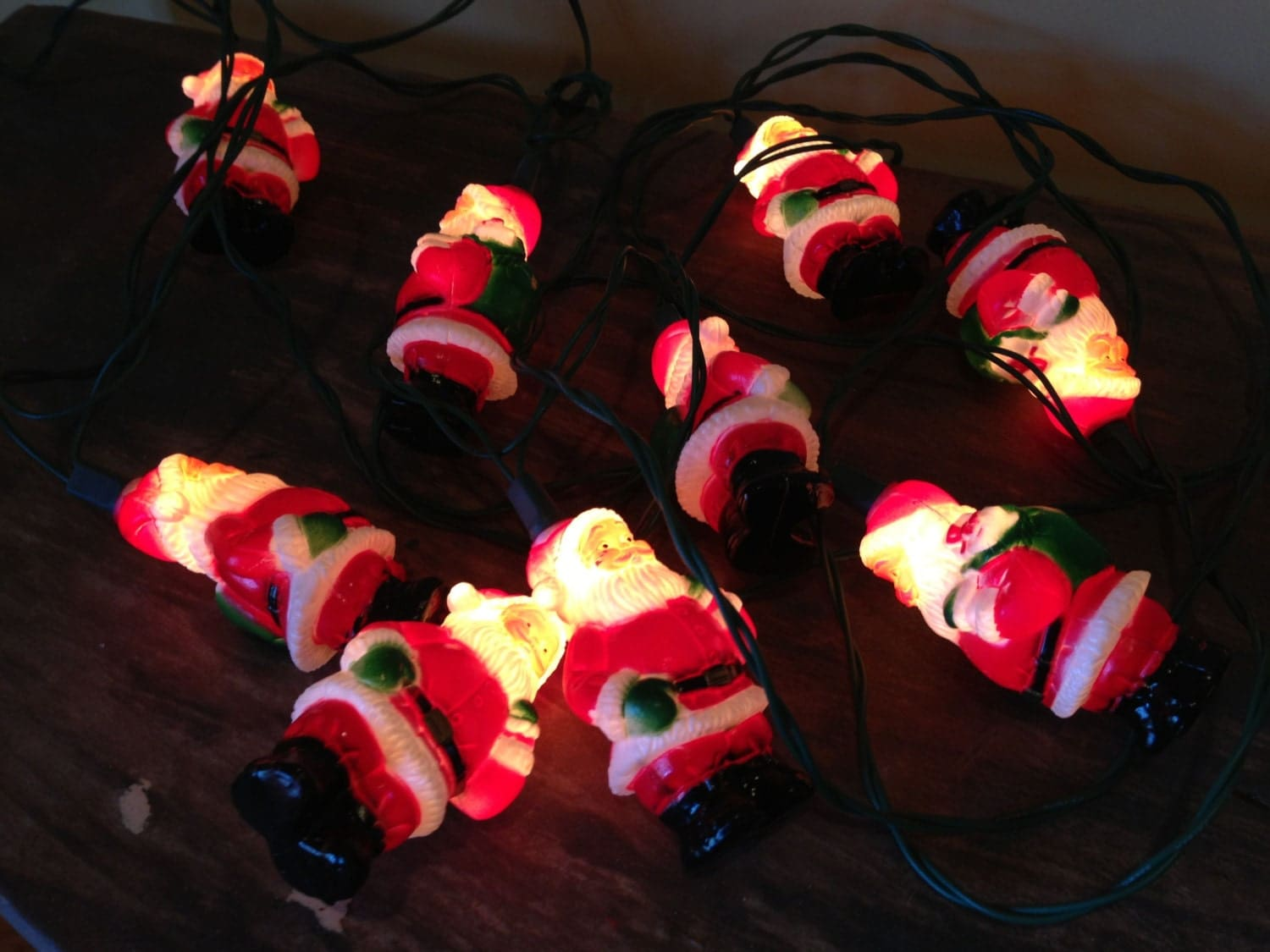 Vintage santa claus string lights christmas holiday