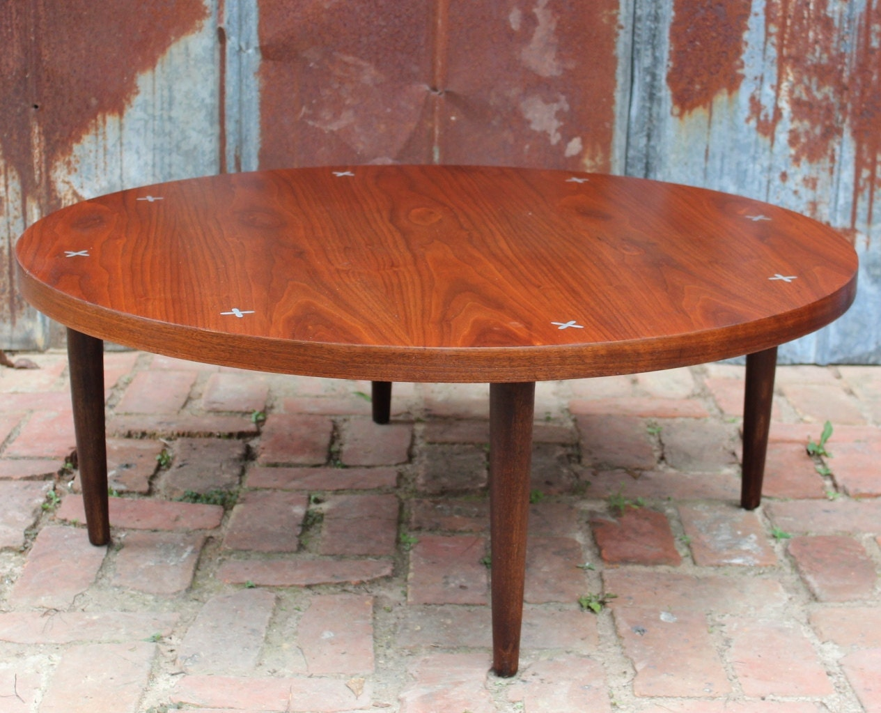 Vintage American Of Martinsville Round Walnut Coffee Table Mid