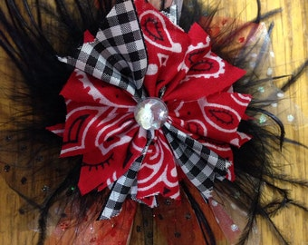 OVER THE TOP Cowgirl Feather Hair Bow