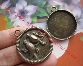Heavy wholesale 40pcs antiqued bronze 25mm round bezel trays pendant findings--Birds in the back