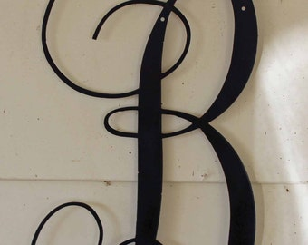 "22 inch Black Script Metal Letter ""B"" Door or Wall Hanging"