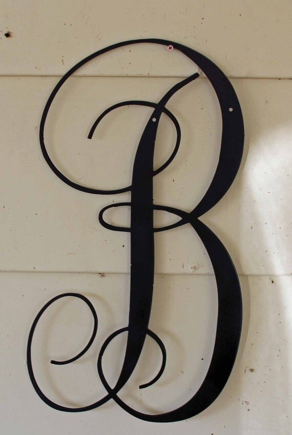22 inch black script metal letter b door or wall for Black metal house letters
