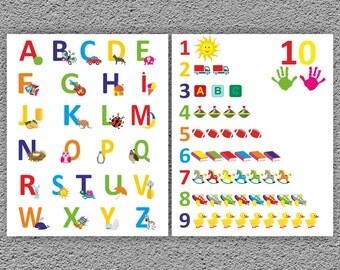 Alphabet and Numbers Wall Art, Kids Alphabet Prints, Nursery Prints, Numbers Wall Art, Playroom Prints, Modern Nursery Prints 8 x 10