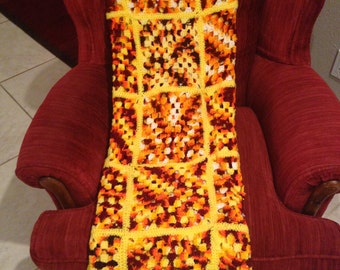 "Vintage Yellow. Orange, Rust & Brown Hand Made Crocheted Afghan-58""x 50"""