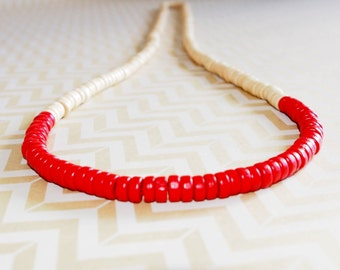 Red and cream wooden colour block rondelle bead necklace