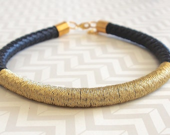 Black and gold wrap rope choker necklace