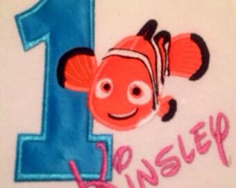 Personalized Finding Nemo Girls Birthday shirt/onesie