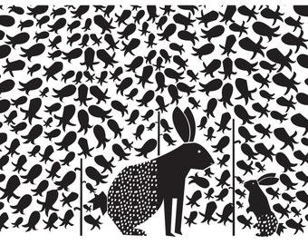 Rabbit mother & baby Art Print. Digital illustration. Black and white
