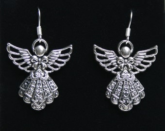 Handcrafted 'Guardian Angel' Earrings. Tibetan silver Guardian Angels on silver plated fish hook ear wires ~ with or without gift box.