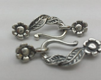 Sterling Silver  hook and eye flower Clasp-  ( 3 pairs)