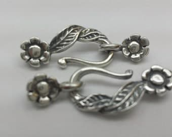 Sterling Silver Clasp flower hook and eye clasp/ 3 pairs