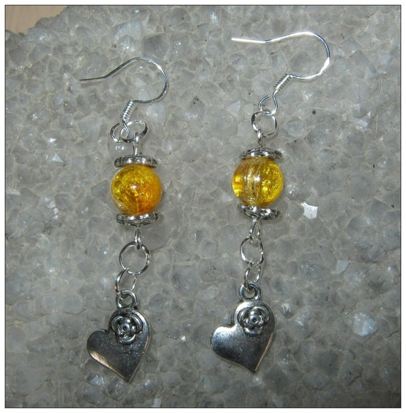 Handmade Silver Hook Earrings with Crackled Amber & Hearts by IreneDesign2011