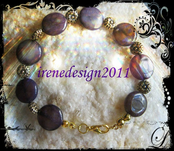 Handmade Gold Bracelet with Amethyst Coins & Flowers by IreneDesign2011