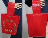 1960s Purse handbag / Vintage  Vinyl Red Handbag - Unique Style