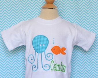 Personalized Octopus with Fish Applique Shirt or Onesie Boy or Girl