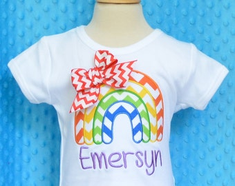 Personalized Rainbow Applique Shirt or Onesie Girl