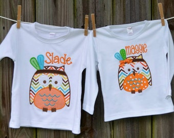 Personalized Fall Owl with Feathers Applique Shirt or Onesie