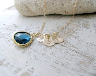 Personalized Heart Initial Necklace, 14k Gold Filled Initials, Sapphire Gemstone Necklace, Mother's Necklace,  Bridesmaid gift,Beach wedding