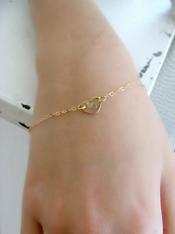 14k Gold Heart Initial Bracelet Heart Bracelet Girls
